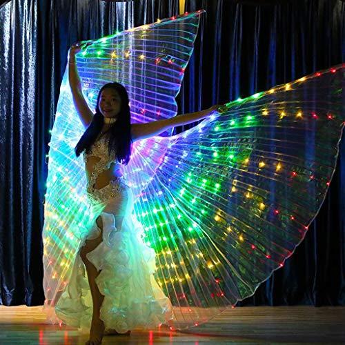Dasongff Frauen Ballettkleid, Mädchen LED-Licht Isis Flügel Bauchtanz Kostüme 360 Grad Sticks Leistung Tanzen Zubehör Props für Bühnen Weihnachten Cosplay Party (Lila, A)