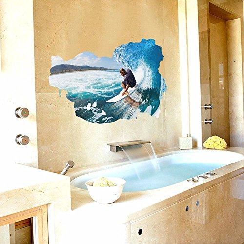 BAJIAN-LI Meer, Surfen 3D wandsticker Junge Zimmer Dekoration wohn - und Schlafzimmer tapete Malen (Surfen Schlafzimmer)