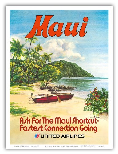 united-airlines-maui-hawaii-hawaiian-outrigger-canoe-waoa-vintage-hawaiian-travel-poster-by-hollenbe