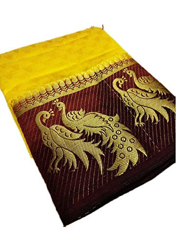 Nirja Creation Silk Cotton Saree With Blouse Piece (Nc-Od-Dblepeckok10_Yellow_Free Size)