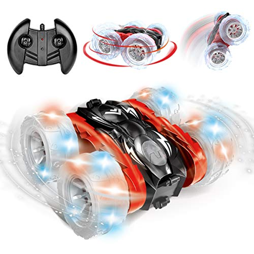 Remokids Rc Car Stunt Remote Control Car Toys for Boys Girls Kids Adults 2.4GHz Off-road Electric Rc Car with LED Lights Wheel , 360 Degrees Flipping Double-Side Driving , Christmas Kids Gifts, Red