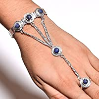 Indie Artisans NATURAL LAPIS LAZULI Gemstone 925 SILVER Overlay ADJUSTABLE RING BRACELET SET