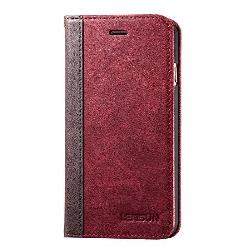 Lensun iPhone 6 Plus Hülle iPhone 6s Plus Hülle, Handyhülle Handytasche iPhone 6 Plus / 6s Plus (5.5 Zoll) Leder Huelle Tasche Flip Case Ledertasche Schutzhülle - Wein Rot - Rot Leder Liegen