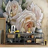 BZDHWWH Custom Papiers Peints Scandinave Élégant Blanc Rose Murale, Mur De Fond Tv Pour Salon Chambre Enfants Chambre,200Cm (H) X 300Cm (W)