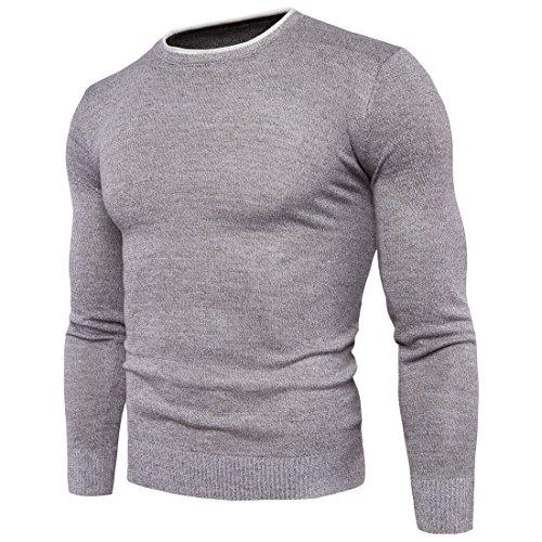 Maglione Girocollo Uomo - Maniche Lunghe Pullover - Sweatshirt Felpa Grigio chiaro