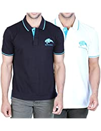Catamont 100% Cotton Polo Tshirt For Men - Combo Set Of 2 Tshirts - Color - Black And White