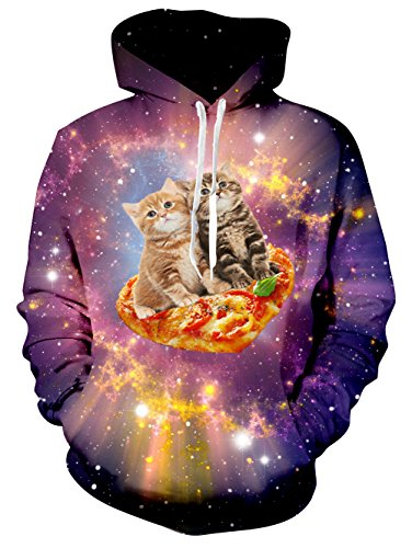 (AIDEAONE Männer Lustige 3D Katze Print Paar Hoodies Langarm Sweatshirts Hooded Pullover Jumper)