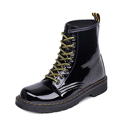 femmes rétro martin court bottes cuir appartement talon hiver chaud décontractée lacet cheville chaussures
