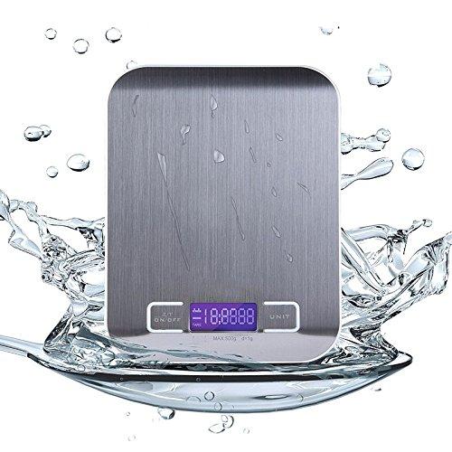 Básculas de cocina,VastSean digital de cocina Escala del alimento, [5000 g, 0,1 oz / 1g] Acero inoxidable que cocina Escala de hasta 5 kg (11 libras) con pantalla LCD, Gram precisa y de diseño compacto (plata)