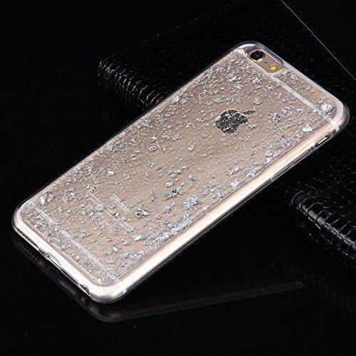 Etsue Durchsichtig Hülle für iPhone 7 2016 TPU Case Schutzhülle, Bunte Einzigartig zeichnung Muster Silikon Crystal TPU Bumper Case Transparent Ultradünnen Kirstall Weiche Silikon Handy Schutz Hülle E Glitter,Silver