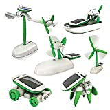 SODIAL 6 in 1 solar diy educational kit toy boat fan car robot windmill puppy smart