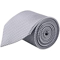 MODO Men's Microfiber Geometric Pattern Slim Tie (Silver_Free Size)