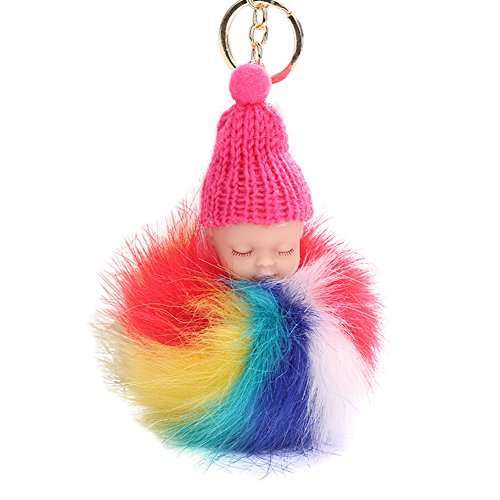 Bfeplfashion Cute Sleeping Baby Doll Keychain Plush Ball Car Keyring Bag Pendant Charm Gift - Rose Red  available at amazon for Rs.246
