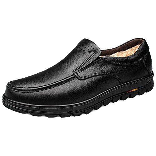SYYAN Hommes Cuir Véritable Hiver De Plein air Garder au Chaud Fond épais Oxford Chaussures , black , 43