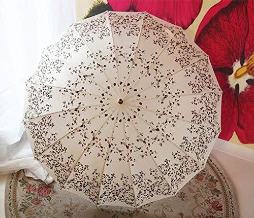 Wghz 16 Karat Kirschblüten Winddicht Sonnenschirm Frau Langgriff Regenschirme Erhöhen Gerade Regenschirm Manuell Geöffnet (Farbe: Beige)