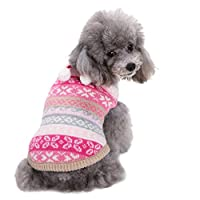 LvRao Cute Soft Christmas Halloween Style Patterned Pet Puppy Dog Sweater Jumper Clothes Coat (Rose Snowflake, XL)