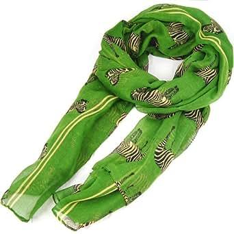 SWT Vogue Lady Zebra Print Scarf Animal Design Large Long Shawl - Green