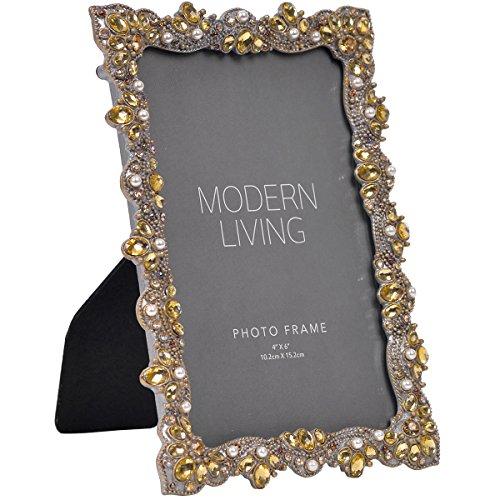 NIKKY HOME Vintage Zinn Foto Rahmen mit Perlen und Kristall, 13x 17,7cm