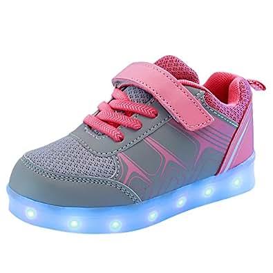 Free Fisher Jungen/Mädchen LED Leuchtend Sportschuhe Sneaker Turnschuhe, Grau und Pink, Gr. 30(Herstellergröße: 30)