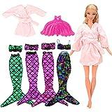 VILLAVIVI 4 Sets Bikini Meerjungfrau Kleidung Kleider Regenbogen Mermaid + 1 Mantel + 1 Plastik...