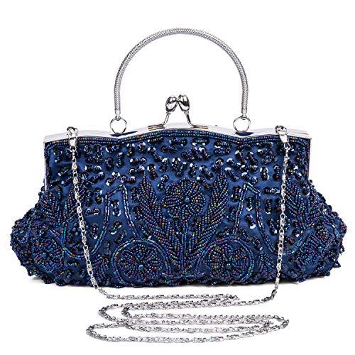 Baigio pochette donna elegante, clutch donna cerimonia, borsetta da sera, borsa a tracolla catena, borsa piccola in perla per matrimonio party sposa cocktail festa, nero/bianco (blu)