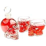 SET Skull- Flasche (125ml) mit 2 Totenkopfgläsern (60ml), für Hausbar, Party, Halloween, Geschenk im Totenkopfdesign, Vodka, Rum, Whiskey- Flasche, Kristall- Schädel, Wein- Dekanter, transparent