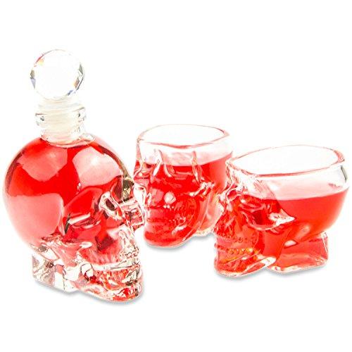 SET Skull- Flasche (125ml) mit 2 Totenkopfgläsern (60ml), für Hausbar, Party, Halloween, Geschenk...