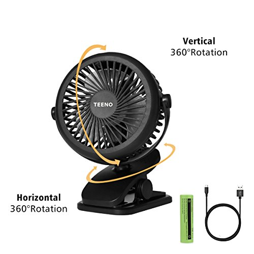 Ventilateur USB Rotation à 360° de Bureau avec Batterie Petit Ventilateur à Clipper Puissant et silencieux,pour Maison Bureau Voiture Camping etc.Noir.seulement vendu par Teeno TECH