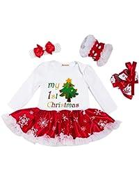4PCS Bebés Niñas Mi Primera Navidad traje de Manga Larga Santa del partido del Vestido, 0-24 Meses