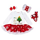 Bambina Natale costume della Santa del partito Romper + Fascia + Scarpa + Leggings 4pcs, 6-12 mesi