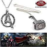 (2 Pcs AVENGERS SET) - AVENGERS SILVER LARGE LOGO & THOR HAMMER (SILVER) IMPORTED METAL PENDANTS WITH CHAIN. LADY HAWK DESIGNER SERIES 2018. ❤ ALSO CHECK FOR LATEST ARRIVALS - NOW ON SALE IN AMAZON - RINGS - KEYCHAINS - NECKLACE - BRACELET &amp