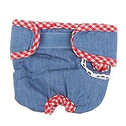 ELECTROPRIME Cowboy Grid Cute Female Pet Dog Physiological Diaper Sanitary Underwear M