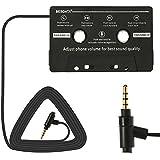 BESDATA Adaptateur Cassette Avec Fonction Microphone Appel Commutateur de musique Pour Auto Radio iPhone iPad iPod MP3 Mobile Noir