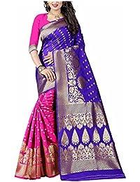 Alok Creation's Presents Women Art Silk Banarasi Saree (Blue And Pink)