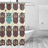 Ahomy Duschvorhang Cute Eule Cartoon Bad Vorhang Wasserdicht Polyester-Mildewproof-, Vorhang für die Dusche 12Haken Sichtschutz Home Badezimmer 182,9x 182,9cm