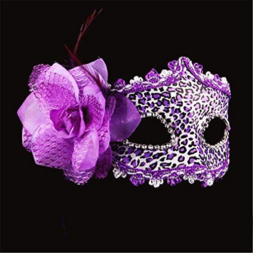 Halloween Masken Leopard Make-up Tanz Show Gemalte Federn Halbes Gesicht Schöne Prinzessin Masken,B (Für Make-up Leopard Halloween)
