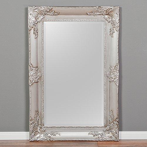 LEBENSwohnART Spiegel Marlon-S Silber 120x80cm Wandspiegel pompös barock Holzrahmen Facette