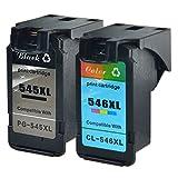 Nineleaf Wiederaufbereitet Tintenpatronen kompatibel für Canon PG-545XL PG545XL PG-545 XL PG545 XL 545XL CL-546XL CL546XL CL-546 XL CL546 XL 546XL PIXMA ip2800 mg2400 IP2850 1 schwarz + 1 Farbe