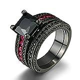 LILIMO Modeschmuck Vergoldet Ehering Roten Korund Schwarz Goldring Micro-Intarsien Zirkon Weiblichen Modelle Schwarz Kupfer Ringgröße 5-10,7#