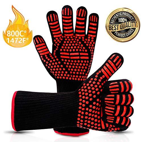 Vivibel Grillhandschuhe, BBQ Handschuhe, Grill Grillhandschuhe Hitzebeständige bis zu 800 ° C Rutschfeste Hitzebeständiger mit Silikon Ofenhandschuhe Topfhandschuhe für Grill Kochen Backen/Schweißen - Silikon-grillen-handschuhe