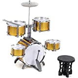 ammoon Tamaño Compacto Percusión de Grupo Niños Instrumento Musical del Juguete 5 Tambores Pequeño Platillo con Heces Baquetas para Niños Niñas