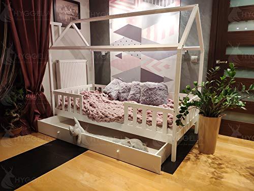 Land Twin-size-bett (Holzbett Housebed mit Barrieren und Schublade Chester Farbe Naturholz für Kinderbett für Teenager Schlafzimmermöbel auf dem Land Holzhausbett (90 x 190cm (Twin Size)))