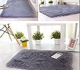 Kanggest Alfombras para Salón Modernas Dormitorio Antideslizante Alfombra, 50*80cm, Gris