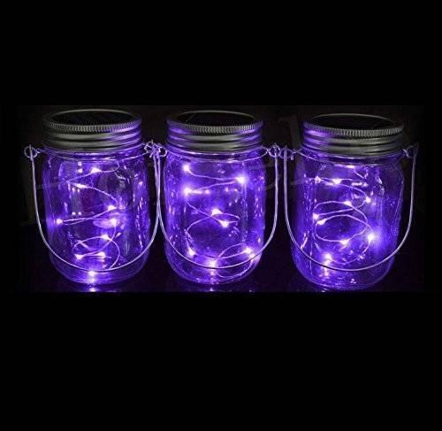 Solar Mason Glas Licht, Sonnen Mason Glas Deckel einlegen und helle Schnur, Mason Jar Glas LED Solar Licht sieben verschiedene Farben, Es kann ganzjährig im Freien benutzt werden (1 Packung,Lila)