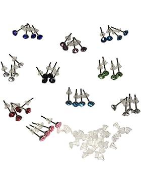 40-teiliges (20 Paar) 3mm Kristall-Stil Strass Stein Ohrstecker Set mit Organisator-Schachtel und Gummi-Rücken...