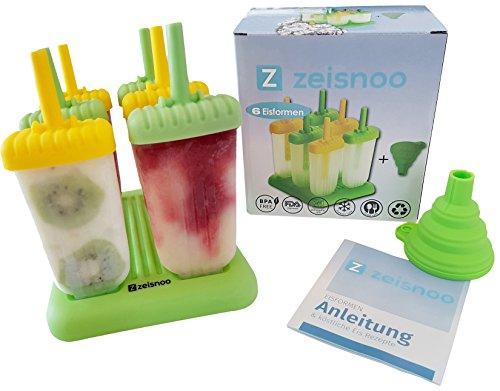 ZEISNOO-6-Eisformen-BPA-frei-GRATIS-eBook-mit-50-Eisrezepten-Mit-Trichter-zum-Befllen-Selbstmach-Eis-am-Stiel-fr-Kinder-und-Erwachsene-Stieleis-schnell-selbstgemacht-Splmaschinen-geeignet