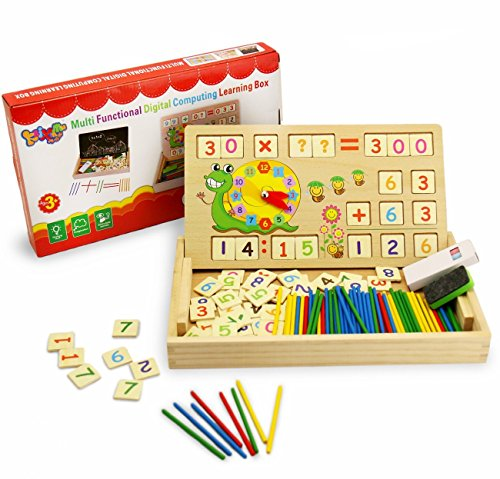 BBLIKE 176 Pieces Wooden Toy Drawing Board Games Creative Puzzle, Teaching Clock Math Learning Tool - Times Tables Blocks Cube Wooden Blocks Number for Counting Maths Games Preschool Education