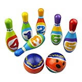 MaMiBabys Gioco da bowling per bambini, Regali per giocattoli con palla di gomma, Educativi, Sviluppo precoce, Sport, Giocattoli da interno, 6 Pin e 2 palle per bambini da 2, 3, 4, 5 anni, Bambini piccoli, Ragazzi, Ragazze