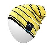 Cappello Bluetooth, Qshell Trendy molli caldi Slouchy Musica Beanie Skully con wireless Bluetooth Cuffia auricolare vivavoce Chiamata telefonica per l'inverno all'aperto Sport Fitness Gym - Giallo