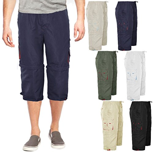 MENS 3/4 SHORTS 2 IN 1 CARGO COMBAT ZIP OFF SUMMER JOGGING CASUAL TROUSERS S M L XL XXL